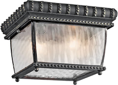 0-006993>9 inchw 2-Light Venetian Rain Outdoor Flush Mount Black and Gold