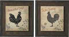 0-020256>18 inchh Rooster Prints on Wood set in Wire Mesh Matting Antique White