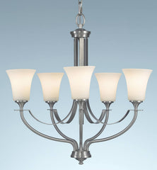 0-010650>OPEN BOX 26 inchw Barrington 5-Light Chandelier Brushed Steel