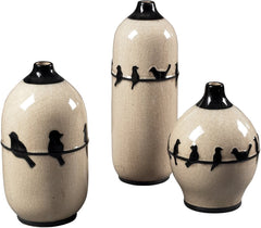0-011135>10 inchh Set of 3 Birds on A Wire Ceramic Jars Cream Glaze/Black