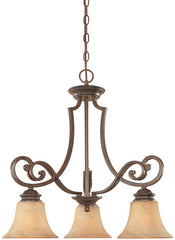 0-009797>OPEN BOX 23 inchw Mendocino 3-Light Chandelier Forged Sienna