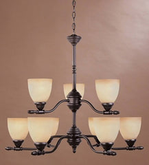 0-037137>30 inchw Apollo 9-Light Chandelier Oil Rubbed Bronze