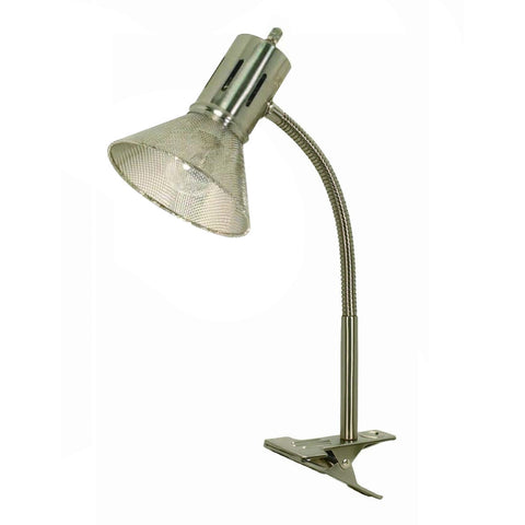 0-008025>Clip-on Gooseneck Desk Lamp Brushed Nickel