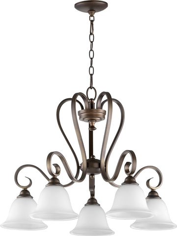 0-001970>Celesta 5-light Nook Chandelier Oiled Bronze w/ Satin Opal
