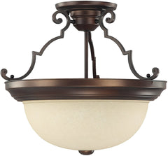 0-015290>3-Light Semi-Flush Fixture Burnished Bronze