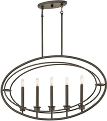 0-023299>36 inchw Imogen 5-Light Chandelier Olde Bronze