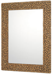 0-000439>25 inchw Natural Wood Rectangular Mirror with Round Geometric