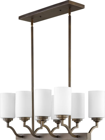 0-001750>Atwood 8-light Kitchen Island Light Oiled Bronze w/ Satin Opal
