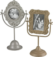 0-025827>Set of 2 Pastel Tone Picture Frames Sentry Silver/Gold