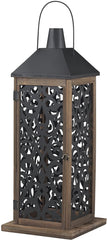 0-017839>35 inchh Large Lantern with Filigree Paneling Natural Aged Wood