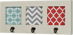0-008655>Chevron Print Wall Hook Off White