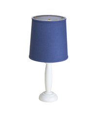 0-000469>Round Pillar Table Lamp with Navy Blue Cylinder Shade