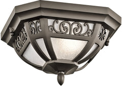 0-004916>12 inchw Park Row 1-Light Outdoor Flush Mount Olde Bronze