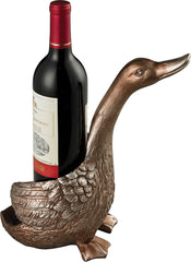 0-013888>10 inchh Duck Wine Holder in Antique Silver Silver