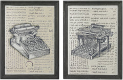 0-012487>16 inchh Set of 2 Antique Typewriter Prints on Glass Clear Etched Black
