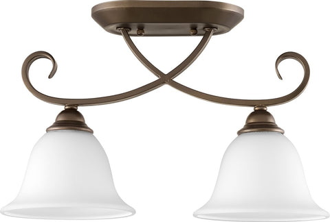 0-010700>Celesta 2-light Ceiling Flush Mount Oiled Bronze w/ Satin Opal