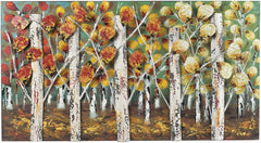 0-023473>20 inchh Autumn Birch Metal Wall Decor Autumn Colors