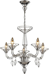 0-020253>26 inchw Couture 5-Light Chandelier Satin Nickel with Transparent Glass