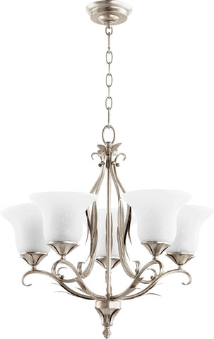 0-002342>Flora 5-Light Gls Chandelier Aged Silver Leaf