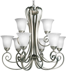 0-031454>31 inchw Willowmore 9-Light Chandelier Tannery Bronze