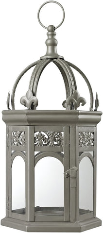 0-032963>Metallic Grey Hurricane Lantern Sentry Silver