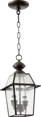 0-023792>Duvall 2-Light Pendant Bronze/Clear/Seeded