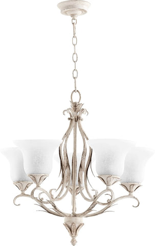 0-002345>Flora 5-Light Gls Chandelier Persian White