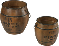 0-020510>18 inchh Set of 2 Wine Culture Bins Stained Wood