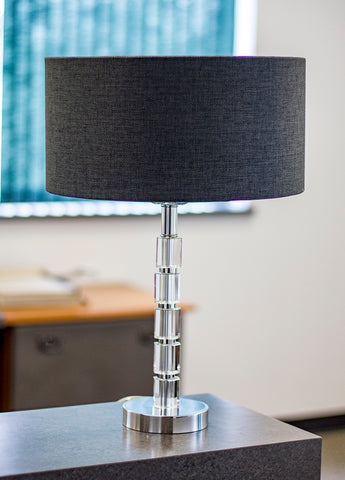 0-001859>Glass Sprockett Modern Crystal Table Lamp - Charcoal Gray Drum Shade