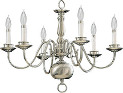 0-011211>24 inchw 6-Light Chandelier Satin Nickel