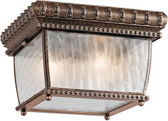 0-006837>9 inchw 2-Light Venetian Rain Outdoor Flush Mount Bronze