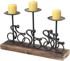 0-031493>10 inchh Abstract Cyclist Candle Holders Rusted Pewter