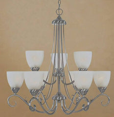 0-031686>30 inchw Stratton 9-Light Chandelier Satin Platinum