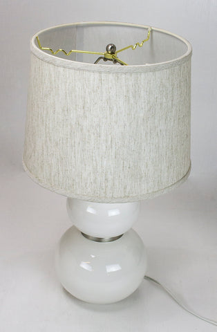 0-004165>Evenkeal White Table Lamp with Textured Oatmeal Drum Shade