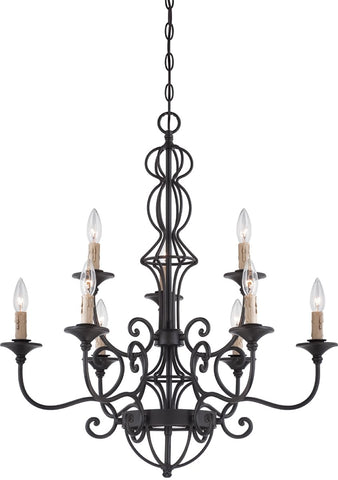 0-035003>Tangier 9-Light Chandelier Natural Iron