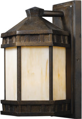 0-025878>12 inchh Mission Abbey 1-Light Outdoor Wall Sconce Hazelnut Bronze with Cream Glass