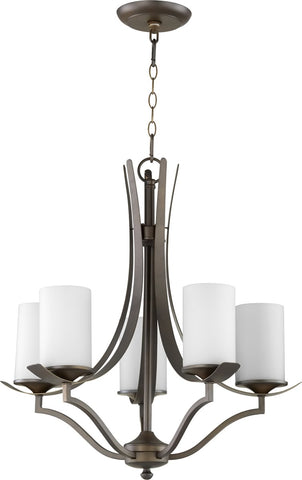 0-002510>Atwood 5-light Chandelier Oiled Bronze w/ Satin Opal