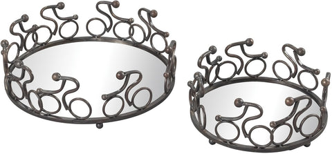 0-016941>Altringham Set of 2 Abstract Cyclist Mirrored Trays Rusted Pewter