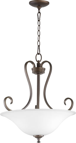 0-007200>Celesta 3-light Patio Inverted Bowl Pendant Oiled Bronze w/ Satin Opal