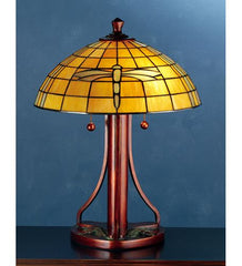 0-002969>OPEN BOX 22 inchh Dragonfly Dome Table Lamp