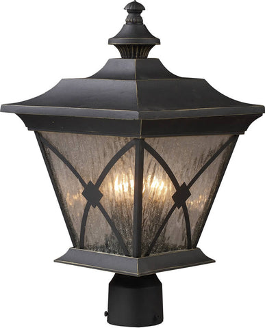 0-013128>Rutland Square 1-Light Outdoor Post Lantern Hazelnut Bronze
