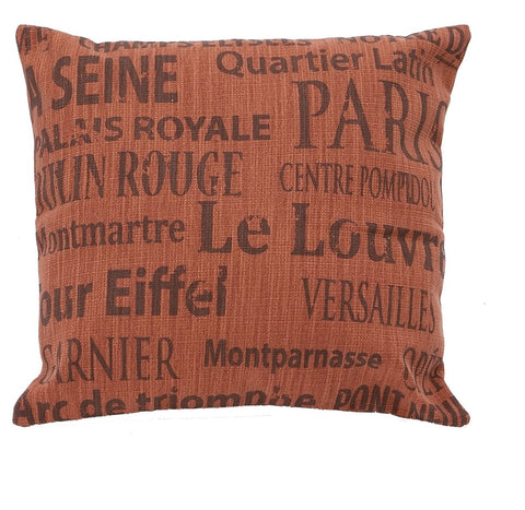 0-021241>Red French Decorative Fabric Pillow