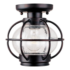 0-000491>OPEN BOX 8 inchw Portsmouth 1-Light Outdoor Ceiling Mount Oil Rubbed Bronze