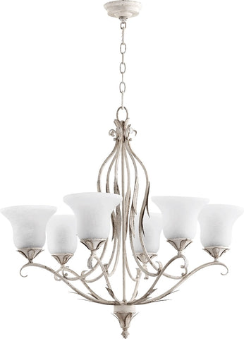0-002354>Flora 6-Light Gls Chandelier Persian White