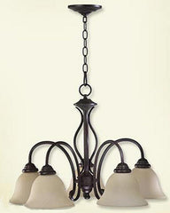 0-005182>OPEN BOX 24 inchw Spencer 5-Light Chandelier Old World