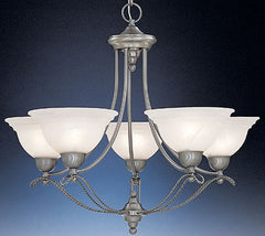 0-037661>27 inchw Palladium 5-Light Chandelier Pewter