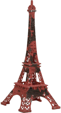 0-004818>Red Metal Eiffel Tower Decorative Sculpture