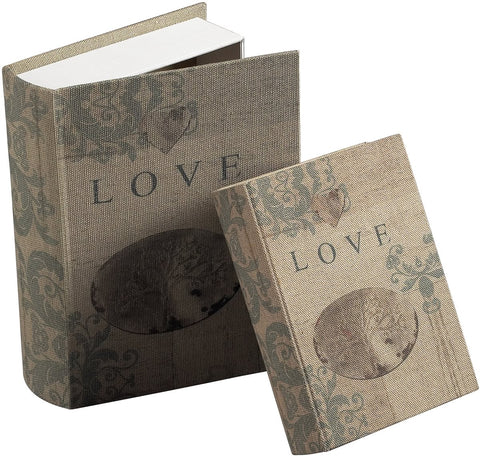 0-021591>Set of 2 Love Keepsake Books Cream Linen