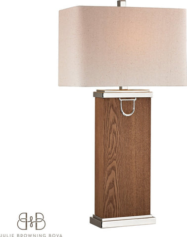 0-037030>Equitation 1-Light 3-Way Table Lamp Dark Walnut, Polish Nickle, Chrome