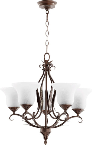 0-002339>Flora 5-Light Gls Chandelier Vintage Copper